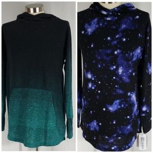 Lularoe M Amber Hoodie Galaxy & green Ombre